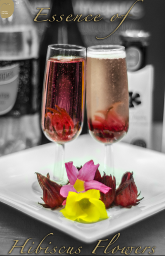 Essence of Hibiscus with Sparkling wine or tonic waterscaled