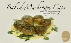 Baked Mushroom Caps with whipped porcini butter