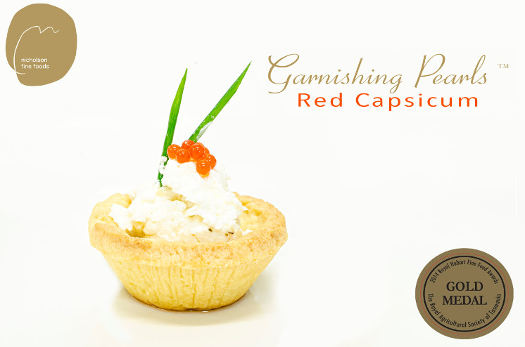 Garnishing-Pearls-Red-Capsicum-goats-cheese-tartlettescaled