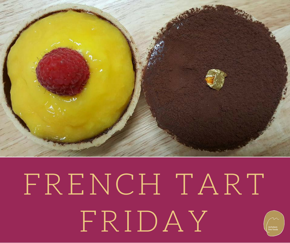 two french tarts, mango and chocolate for french tart friday at nicholson fine foods