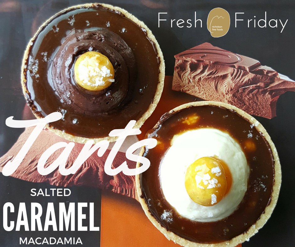 Seductive salted caramel in a crisp pastry shell with white or dark Belgian Chocolate Mousse and a caramel crusted macadamia nut.